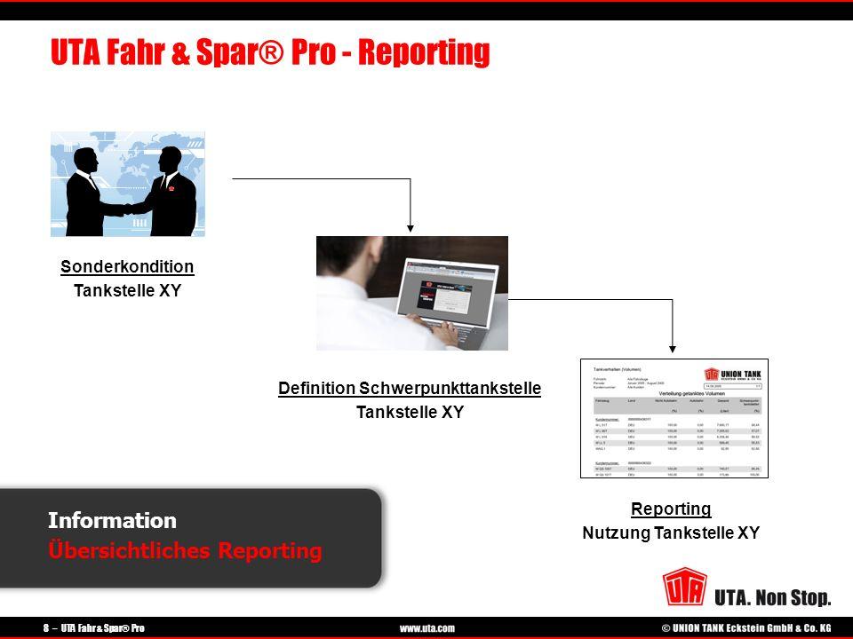 8 – UTA Fahr & Spar® Pro Information Übersichtliches Reporting UTA Fahr & Spar® Pro - Reporting Sonderkondition Tankstelle XY Definition Schwerpunktta