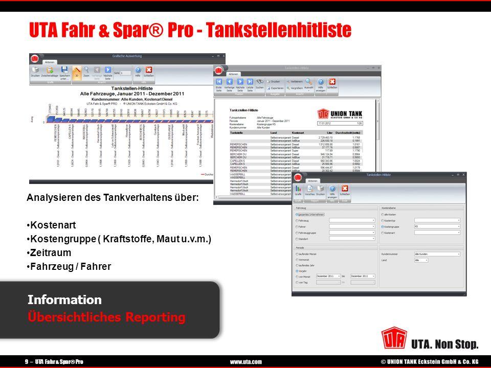 9 – UTA Fahr & Spar® Pro Information Übersichtliches Reporting UTA Fahr & Spar® Pro - Tankstellenhitliste Analysieren des Tankverhaltens über: Kostena