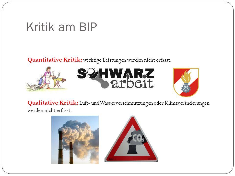 Kritik am BIP Quantitative Kritik: wichtige Leistungen werden nicht erfasst.