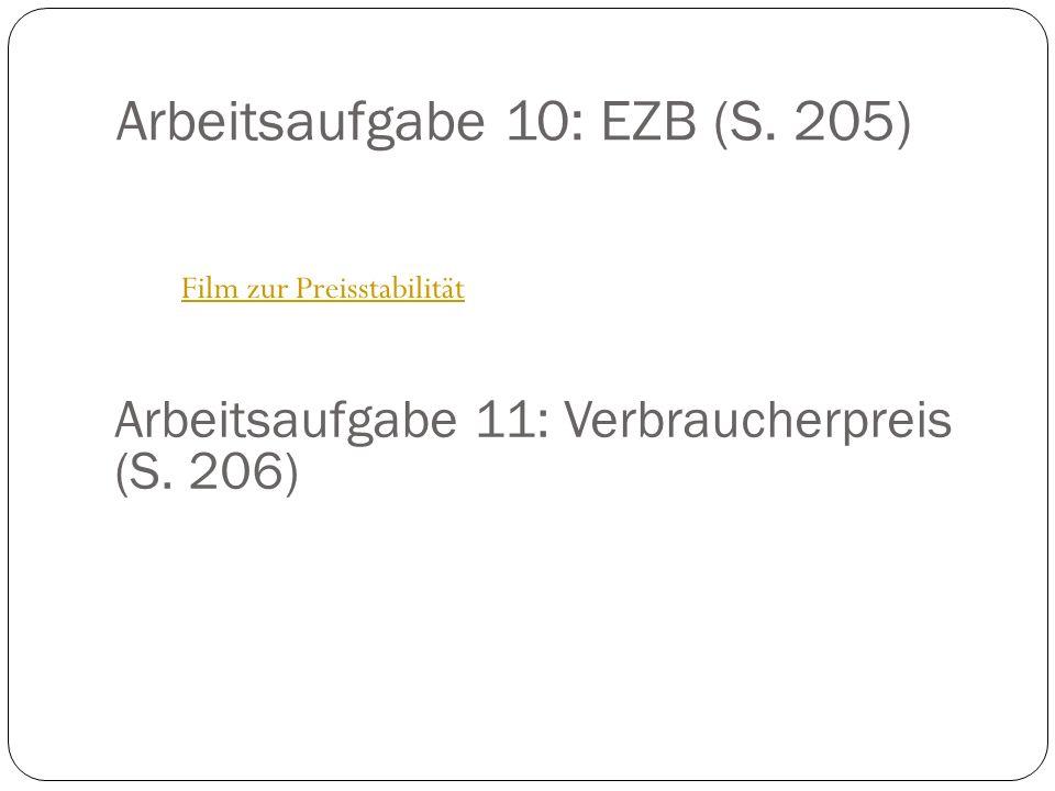 Arbeitsaufgabe 10: EZB (S.205) Film zur Preisstabilität Arbeitsaufgabe 11: Verbraucherpreis (S.