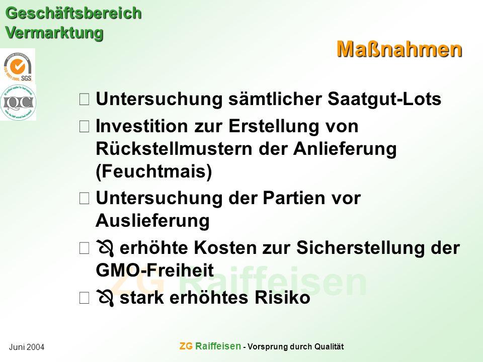 ZG Raiffeisen Geschäftsbereich Vermarktung Juni 2004 ZG Raiffeisen - Vorsprung durch Qualität Maßnahmen Untersuchung sämtlicher Saatgut-Lots Investiti