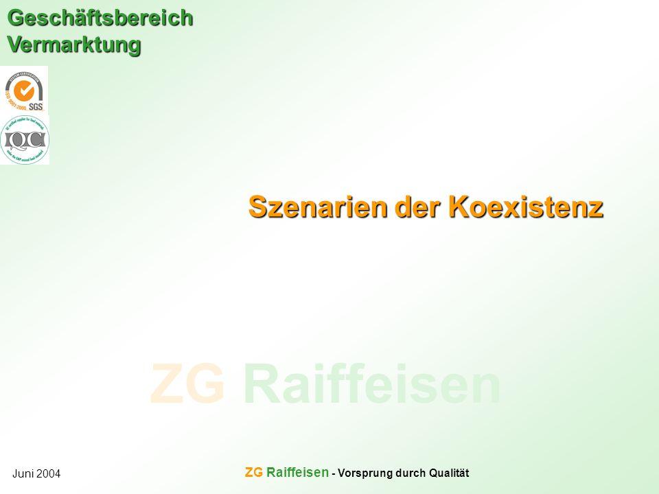 ZG Raiffeisen Geschäftsbereich Vermarktung Juni 2004 ZG Raiffeisen - Vorsprung durch Qualität Szenarien der Koexistenz