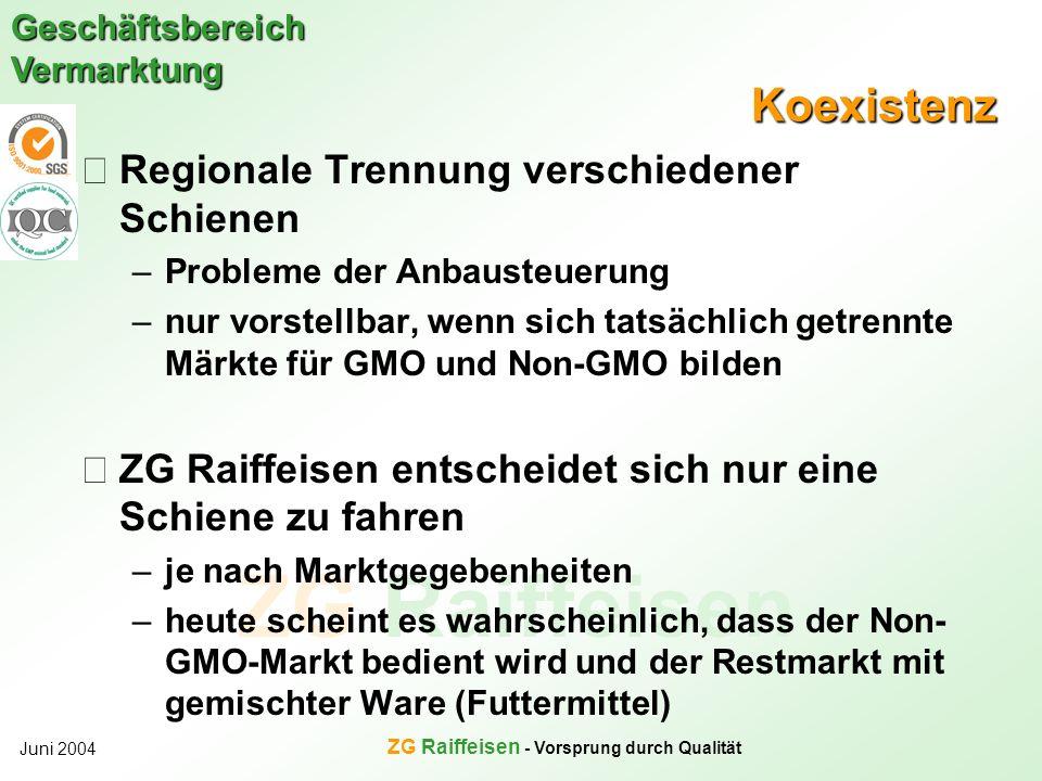 ZG Raiffeisen Geschäftsbereich Vermarktung Juni 2004 ZG Raiffeisen - Vorsprung durch Qualität Koexistenz Regionale Trennung verschiedener Schienen –Pr