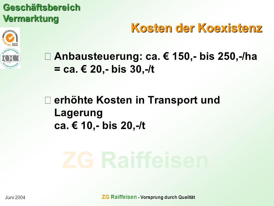 ZG Raiffeisen Geschäftsbereich Vermarktung Juni 2004 ZG Raiffeisen - Vorsprung durch Qualität Kosten der Koexistenz Anbausteuerung: ca. 150,- bis 250,