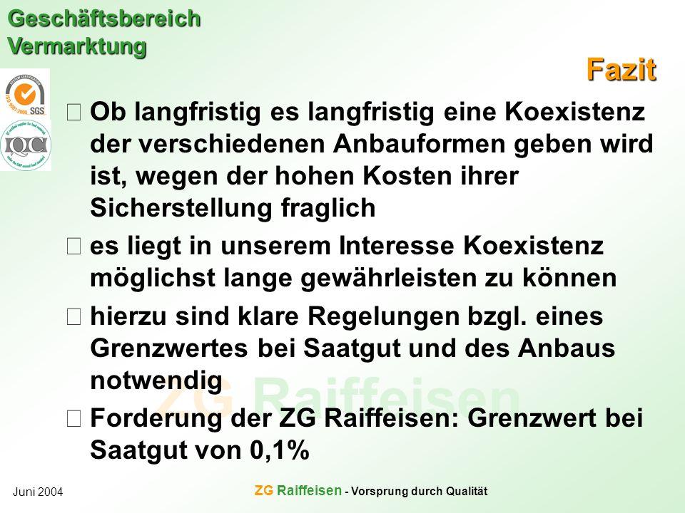 ZG Raiffeisen Geschäftsbereich Vermarktung Juni 2004 ZG Raiffeisen - Vorsprung durch Qualität Fazit Ob langfristig es langfristig eine Koexistenz der