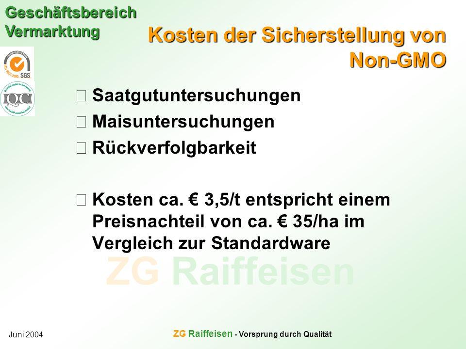 ZG Raiffeisen Geschäftsbereich Vermarktung Juni 2004 ZG Raiffeisen - Vorsprung durch Qualität Kosten der Sicherstellung von Non-GMO Saatgutuntersuchun
