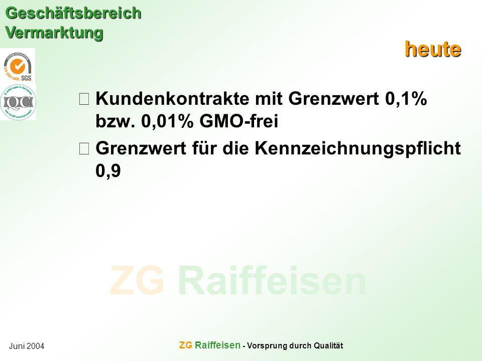 ZG Raiffeisen Geschäftsbereich Vermarktung Juni 2004 ZG Raiffeisen - Vorsprung durch Qualität heute Kundenkontrakte mit Grenzwert 0,1% bzw. 0,01% GMO-