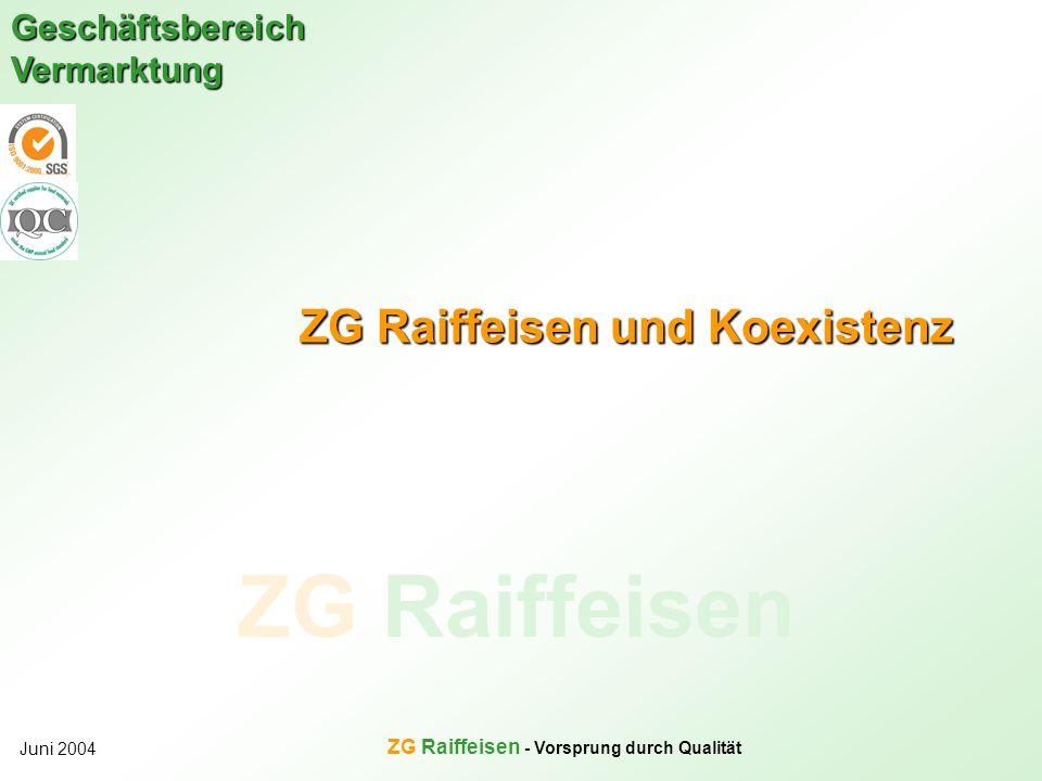 ZG Raiffeisen Geschäftsbereich Vermarktung Juni 2004 ZG Raiffeisen - Vorsprung durch Qualität ZG Raiffeisen und Koexistenz