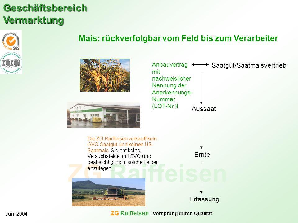 ZG Raiffeisen Geschäftsbereich Vermarktung Juni 2004 ZG Raiffeisen - Vorsprung durch Qualität Die ZG Raiffeisen verkauft kein GVO Saatgut und keinen U