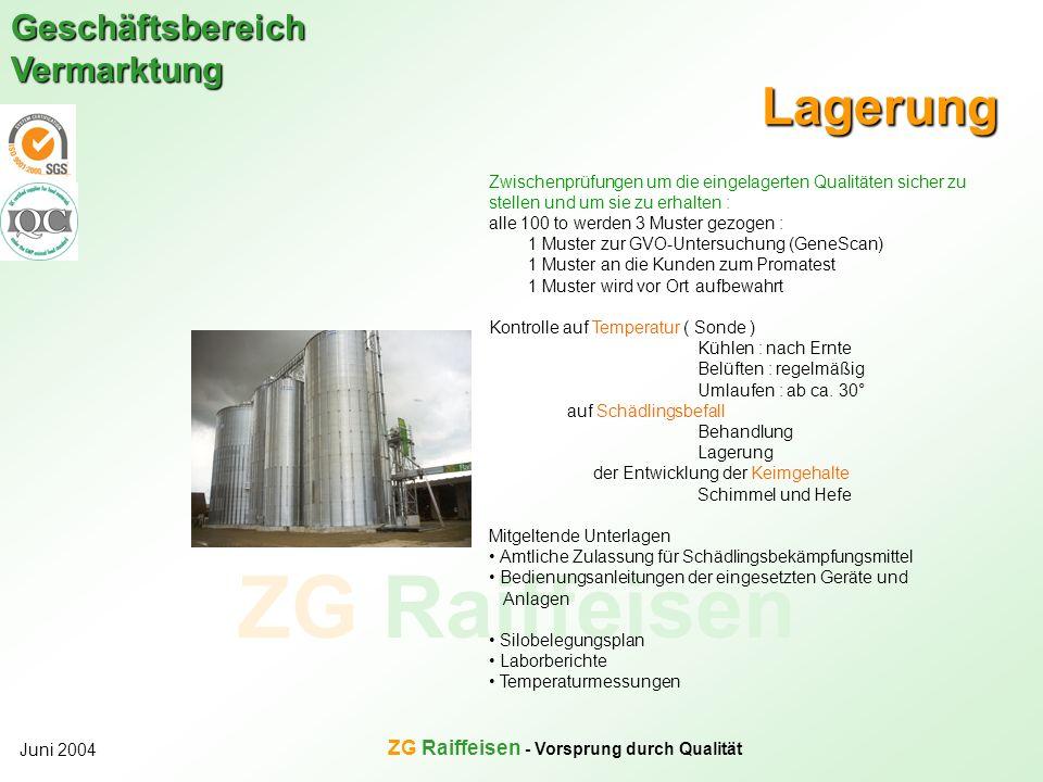 ZG Raiffeisen Geschäftsbereich Vermarktung Juni 2004 ZG Raiffeisen - Vorsprung durch Qualität Lagerung Zwischenprüfungen um die eingelagerten Qualität