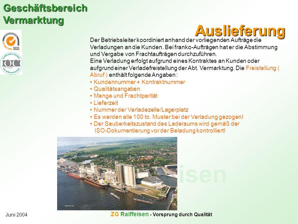 ZG Raiffeisen Geschäftsbereich Vermarktung Juni 2004 ZG Raiffeisen - Vorsprung durch Qualität Auslieferung Der Betriebsleiter koordiniert anhand der v