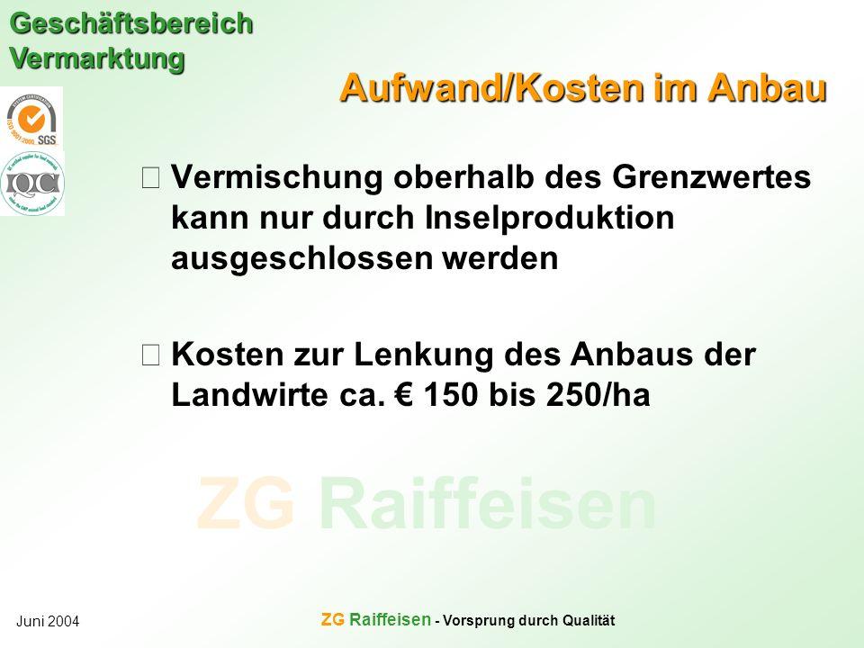 ZG Raiffeisen Geschäftsbereich Vermarktung Juni 2004 ZG Raiffeisen - Vorsprung durch Qualität Aufwand/Kosten im Anbau Vermischung oberhalb des Grenzwe