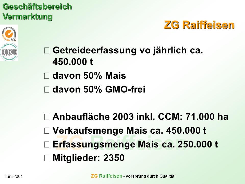 ZG Raiffeisen Geschäftsbereich Vermarktung Juni 2004 ZG Raiffeisen - Vorsprung durch Qualität ZG Raiffeisen Getreideerfassung vo jährlich ca. 450.000