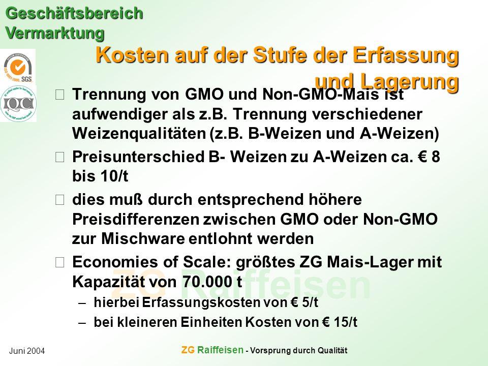 ZG Raiffeisen Geschäftsbereich Vermarktung Juni 2004 ZG Raiffeisen - Vorsprung durch Qualität Kosten auf der Stufe der Erfassung und Lagerung Trennung