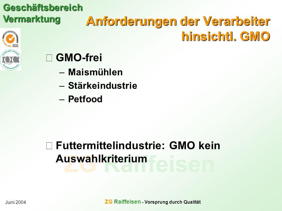 ZG Raiffeisen Geschäftsbereich Vermarktung Juni 2004 ZG Raiffeisen - Vorsprung durch Qualität Anforderungen der Verarbeiter hinsichtl. GMO GMO-frei –M