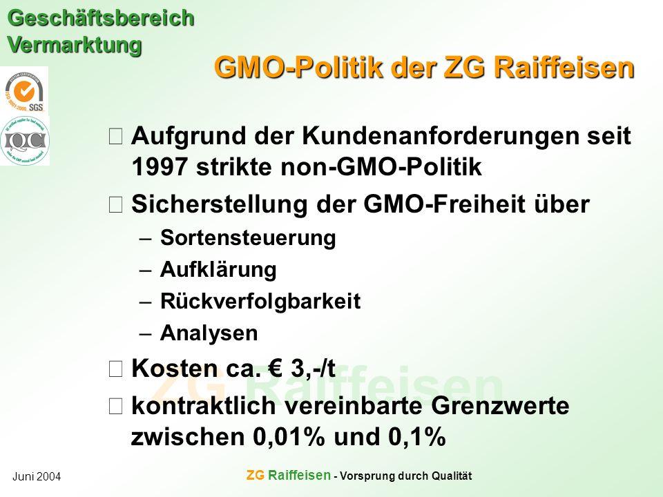 ZG Raiffeisen Geschäftsbereich Vermarktung Juni 2004 ZG Raiffeisen - Vorsprung durch Qualität GMO-Politik der ZG Raiffeisen Aufgrund der Kundenanforde
