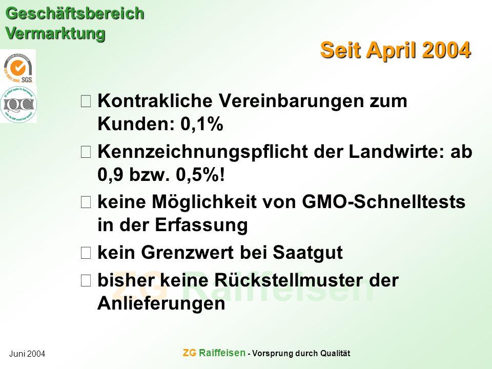 ZG Raiffeisen Geschäftsbereich Vermarktung Juni 2004 ZG Raiffeisen - Vorsprung durch Qualität Seit April 2004 Kontrakliche Vereinbarungen zum Kunden: