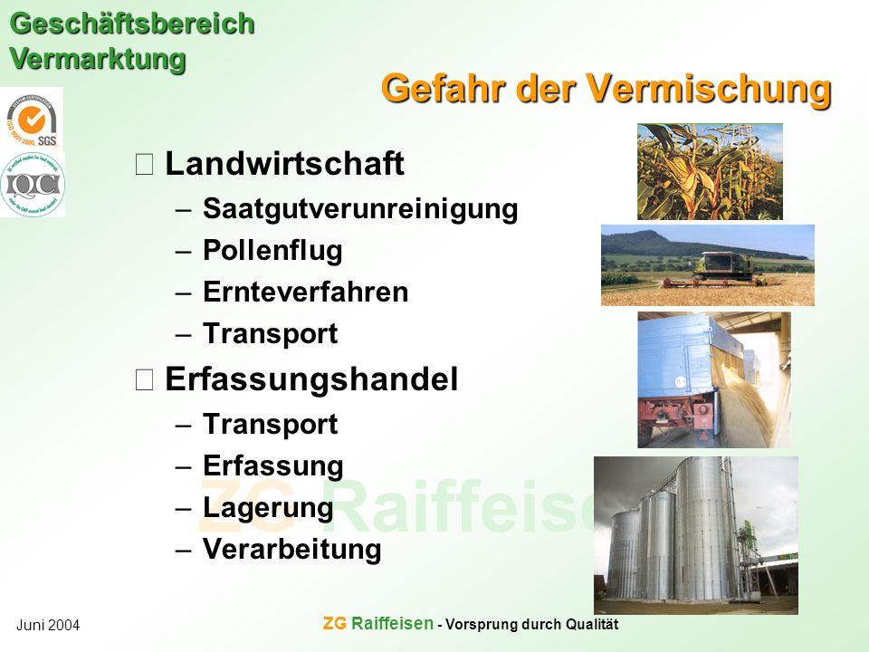 ZG Raiffeisen Geschäftsbereich Vermarktung Juni 2004 ZG Raiffeisen - Vorsprung durch Qualität Gefahr der Vermischung Landwirtschaft –Saatgutverunreini