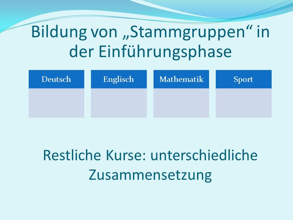 Oberstufe als Kurssystem Der Unterricht in der Oberstufe findet in Kursen statt. In der Einführungsphase werden die Schüler/innen in Deutsch, Mathemat