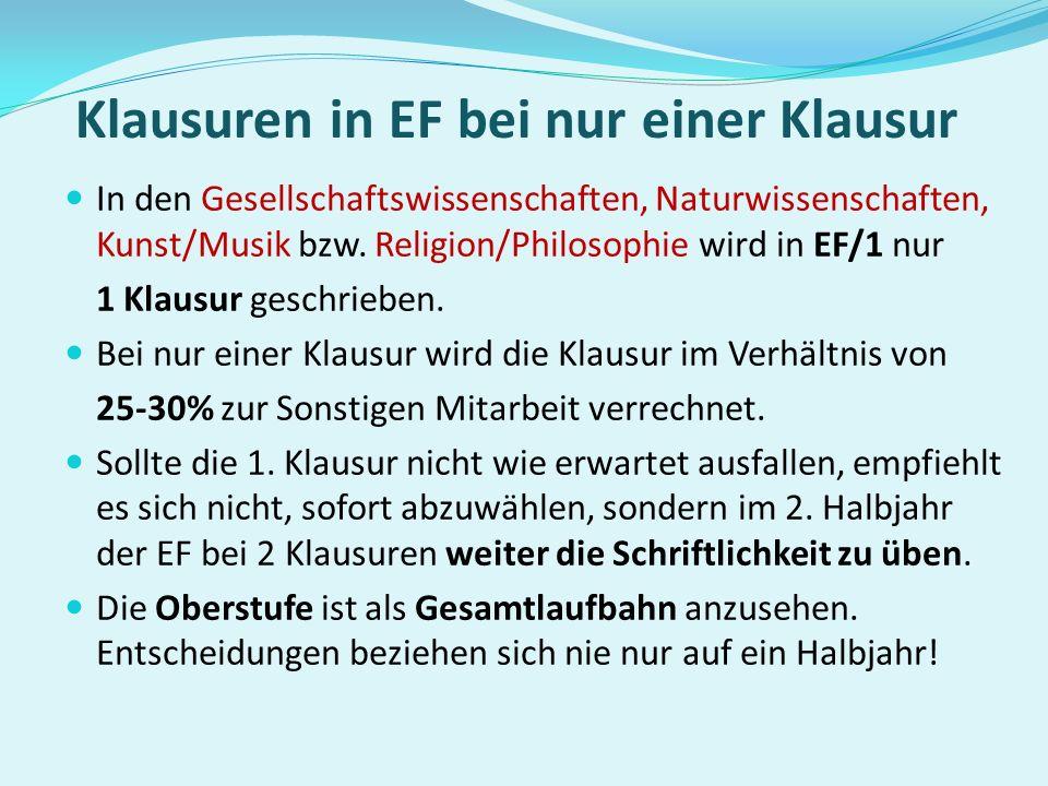 In der Einführungsphase müssen in folgenden Fächern Klausuren geschrieben werden: Deutsch fortgeführte Fremdsprache neu einsetzende Fremdsprache einer