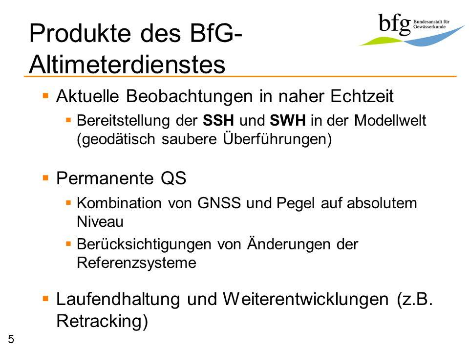 Produkte des BfG- Altimeterdienstes Aktuelle Beobachtungen in naher Echtzeit Bereitstellung der SSH und SWH in der Modellwelt (geodätisch saubere Über