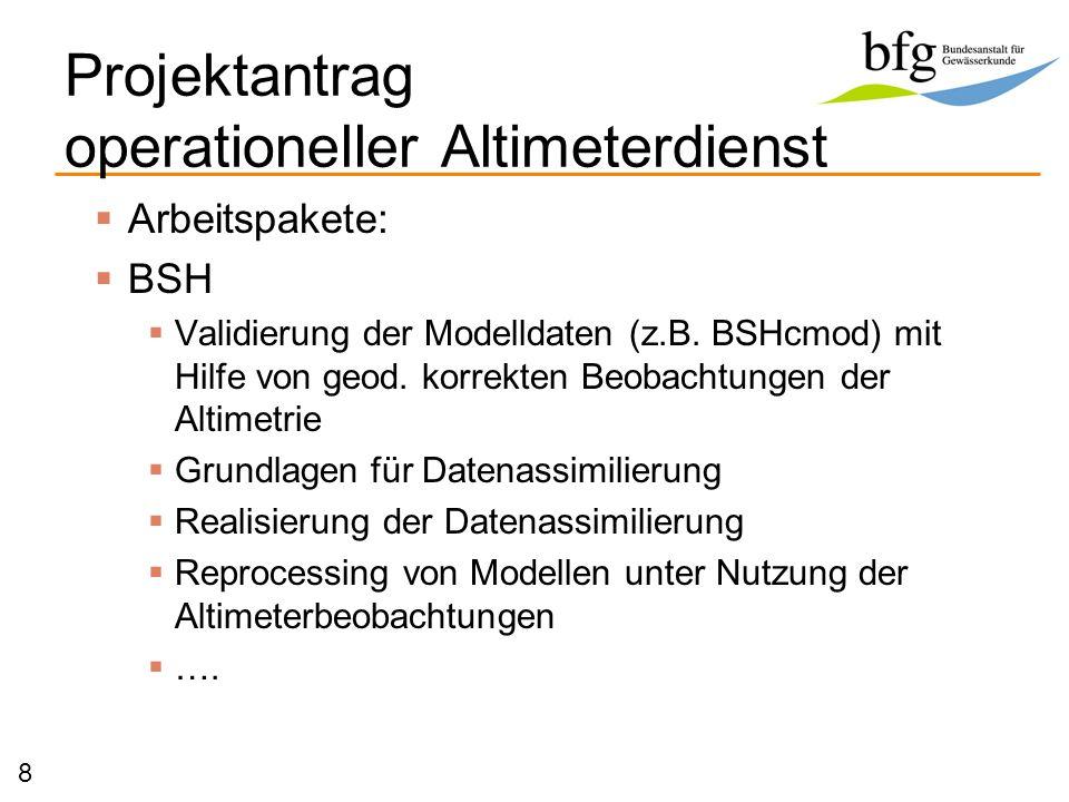 Arbeitspakete: BSH Validierung der Modelldaten (z.B. BSHcmod) mit Hilfe von geod. korrekten Beobachtungen der Altimetrie Grundlagen für Datenassimilie