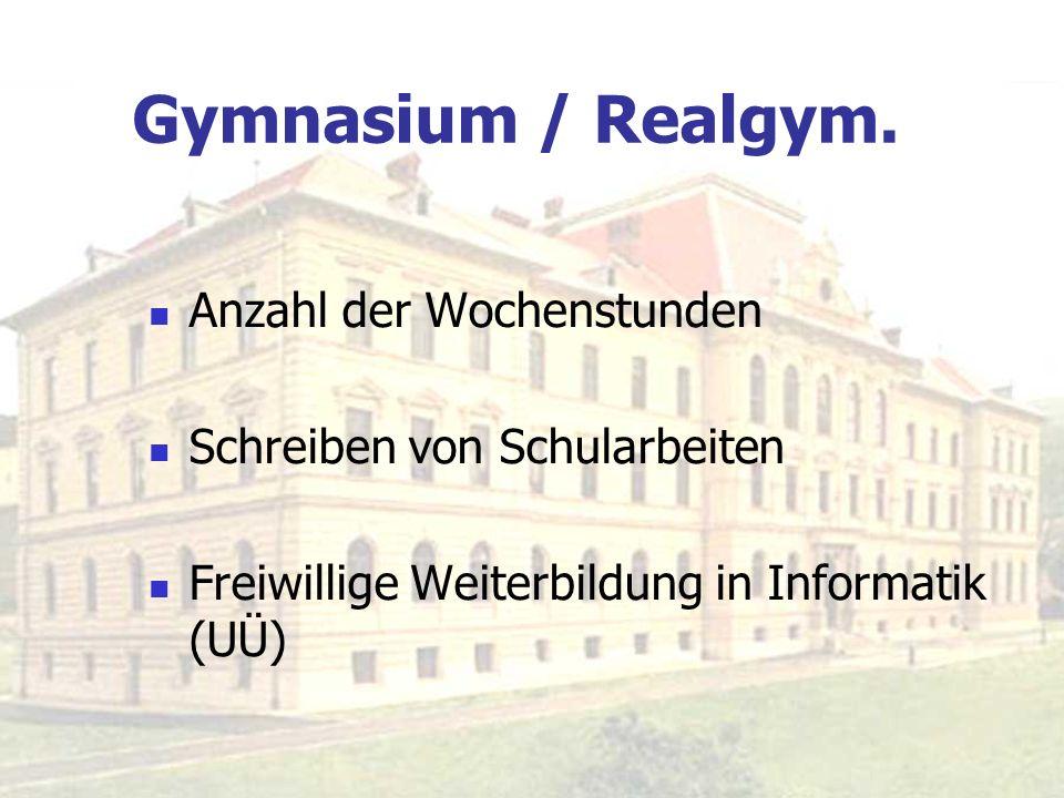 Gymnasium / Realgym. Anzahl der Wochenstunden Schreiben von Schularbeiten Freiwillige Weiterbildung in Informatik (UÜ)