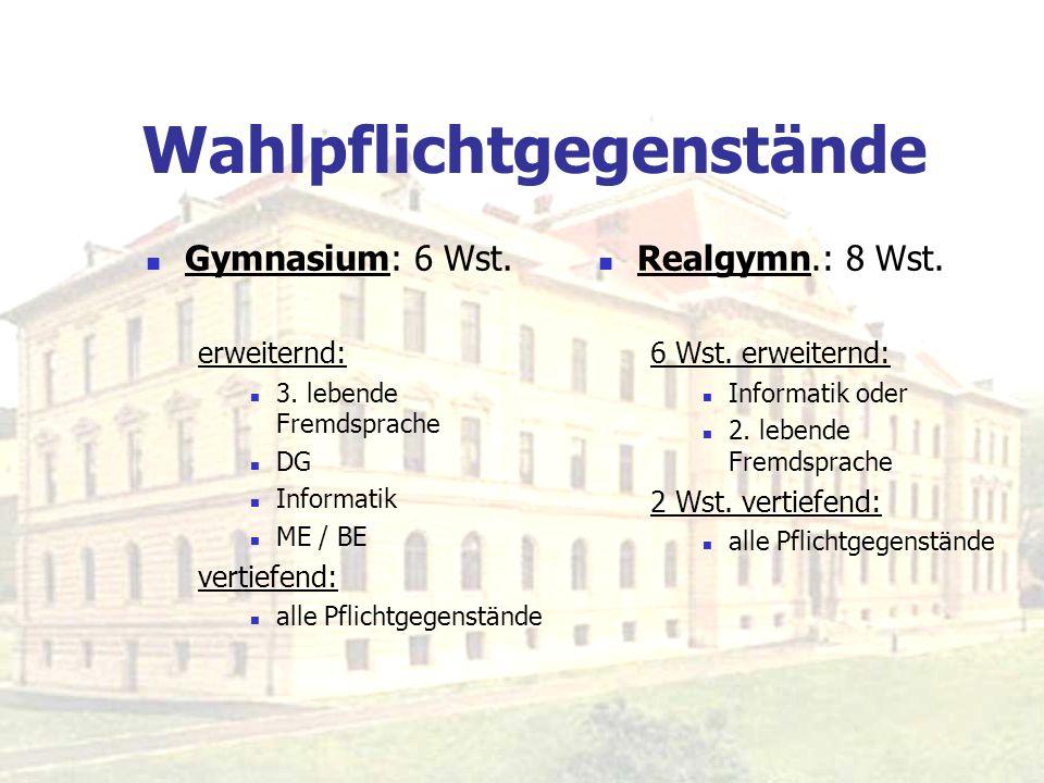 Wahlpflichtgegenstände Gymnasium: 6 Wst. erweiternd: 3. lebende Fremdsprache DG Informatik ME / BE vertiefend: alle Pflichtgegenstände Realgymn.: 8 Ws