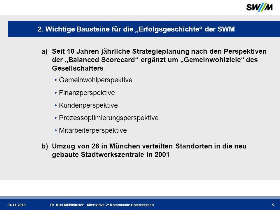 04.11.2010Dr.Kurt Mühlhäuser Alternative 2: Kommunale Unternehmen6 2.