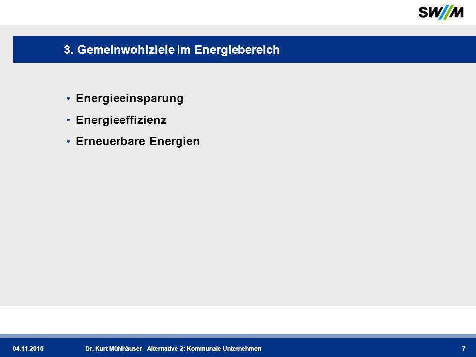 04.11.2010Dr.Kurt Mühlhäuser Alternative 2: Kommunale Unternehmen8 3.