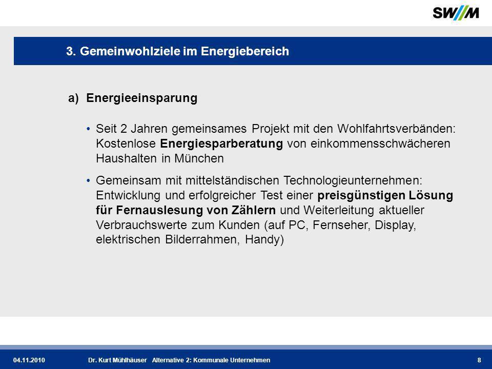 04.11.2010Dr.Kurt Mühlhäuser Alternative 2: Kommunale Unternehmen9 3.