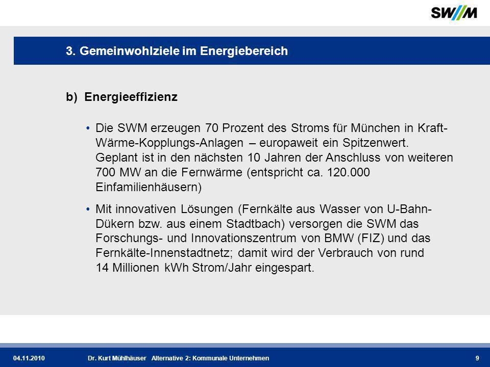 04.11.2010Dr.Kurt Mühlhäuser Alternative 2: Kommunale Unternehmen10 3.