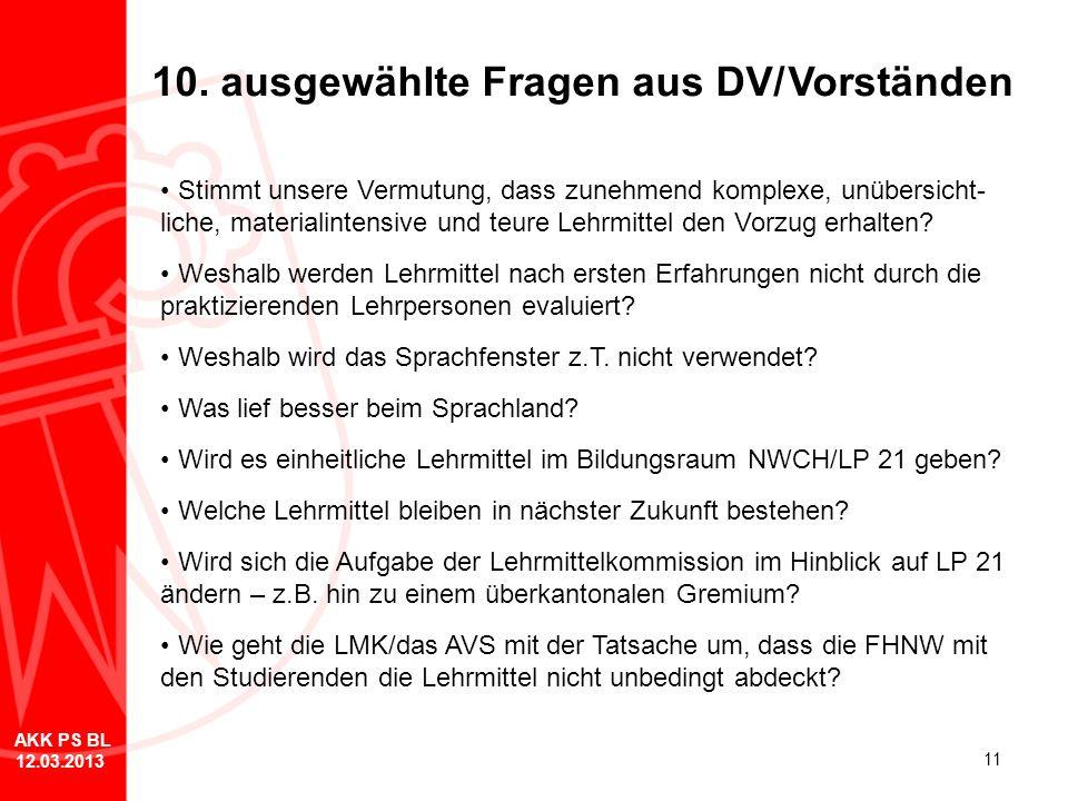 11 10. ausgewählte Fragen aus DV/Vorständen Stimmt unsere Vermutung, dass zunehmend komplexe, unübersicht- liche, materialintensive und teure Lehrmitt