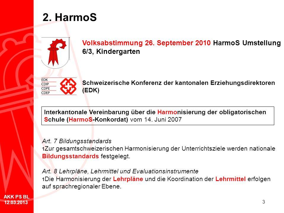 3 2. HarmoS Volksabstimmung 26. September 2010 HarmoS Umstellung 6/3, Kindergarten Schweizerische Konferenz der kantonalen Erziehungsdirektoren (EDK)