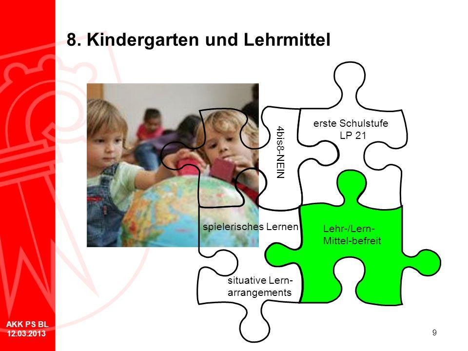 9 8. Kindergarten und Lehrmittel erste Schulstufe LP 21 spielerisches Lernen 4bis8-NEIN Lehr-/Lern- Mittel-befreit situative Lern- arrangements AKK PS