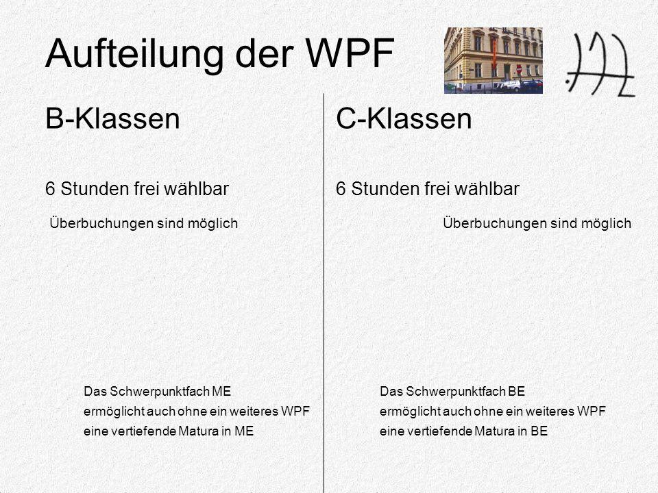 Aufteilung der WPF Das Schwerpunktfach ME ermöglicht auch ohne ein weiteres WPF eine vertiefende Matura in ME 6 Stunden frei wählbar Überbuchungen sind möglich B-Klassen 6 Stunden frei wählbar Überbuchungen sind möglich C-Klassen Das Schwerpunktfach BE ermöglicht auch ohne ein weiteres WPF eine vertiefende Matura in BE