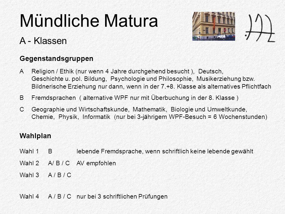 Mündliche Matura A - Klassen Gegenstandsgruppen AReligion / Ethik (nur wenn 4 Jahre durchgehend besucht ), Deutsch, Geschichte u.