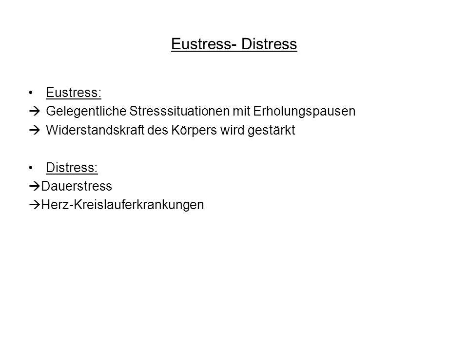 Eustress- Distress Eustress: Gelegentliche Stresssituationen mit Erholungspausen Widerstandskraft des Körpers wird gestärkt Distress: Dauerstress Herz