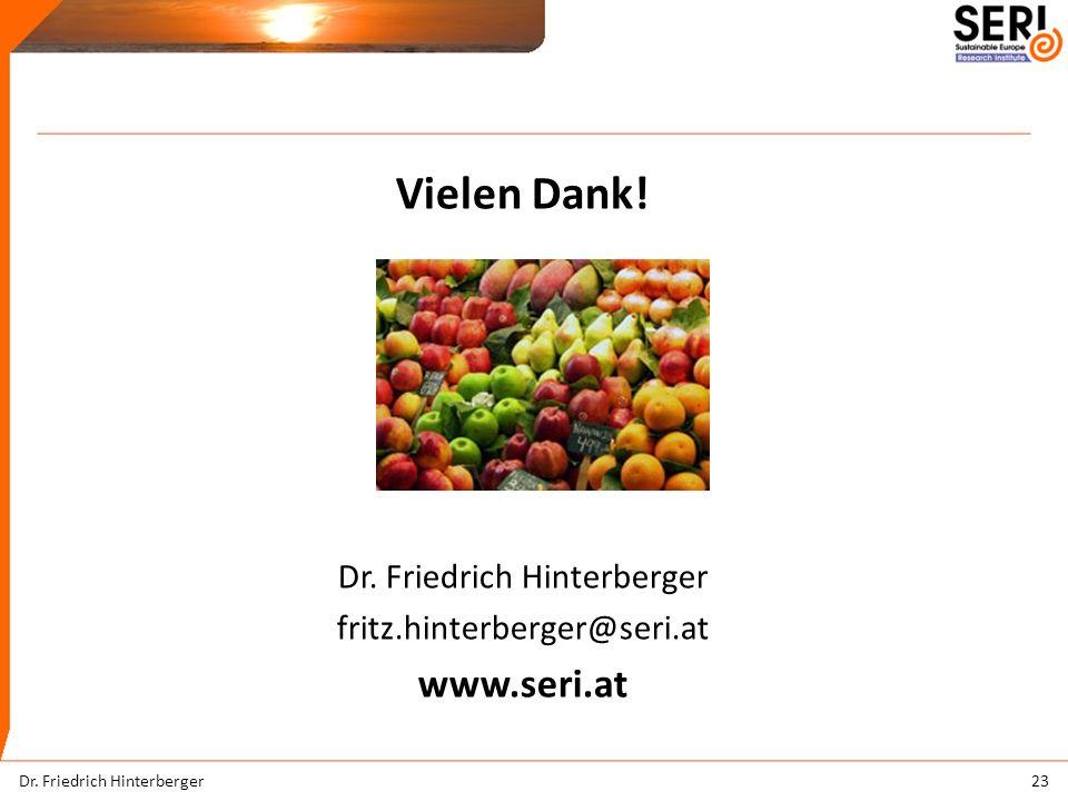 Vielen Dank. Dr. Friedrich Hinterberger fritz.hinterberger@seri.at www.seri.at 23Dr.