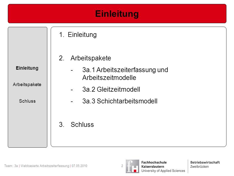 Arbeitspaket 3a.1 Einleitung Arbeitspakete Schluss Team: 3a | Webbasierte Arbeitszeiterfassung | 07.05.20103 Arbeitszeitmodelle der Vergangenheit, Gegenwart und Zukunft.