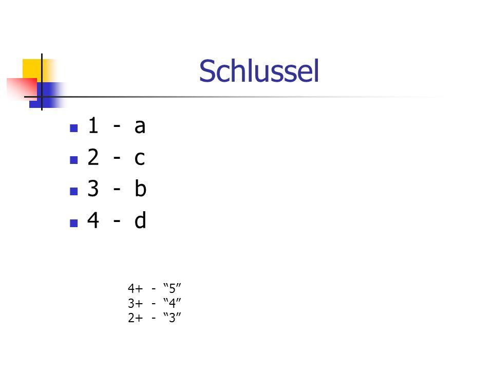 Schlussel 1 - a 2 - c 3 - b 4 - d 4+ - 5 3+ - 4 2+ - 3