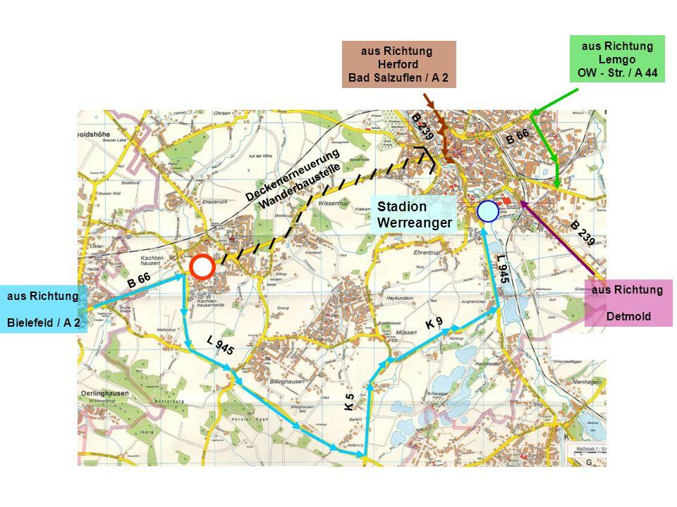 aus Richtung Bielefeld / A 2 aus Richtung Detmold aus Richtung Lemgo OW – Str.