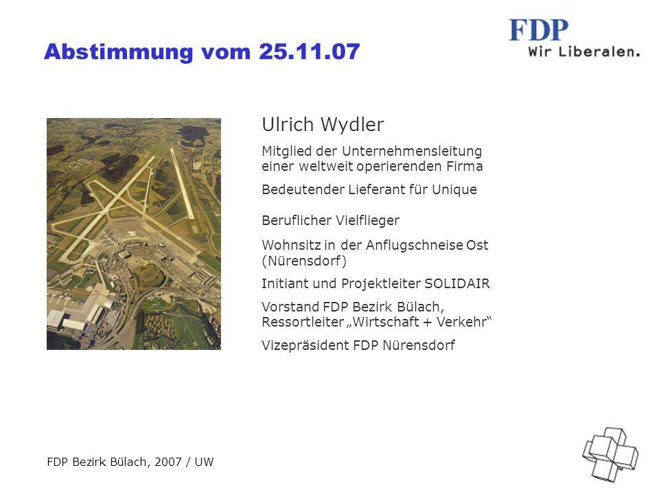 FDP Bezirk Bülach, 2007 / UW Übersicht Vorlagen KriteriumInitiativeZFI+SOLIDAIR Wachstums- beschränkung 250000 Bewegungen Keine; Mitsprache der Bevölkerung ab 320000 Bewegungen Keine Veränderung des Pistensystems (ca.