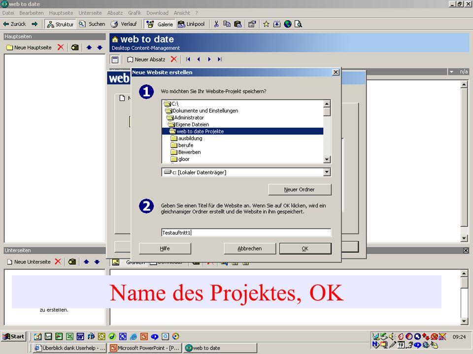 Seitenstruktur: Startseite Hauptseiten (Button in der Menustruktur sichtbar) Hier können Sie den Text eingeben wie mit Word.