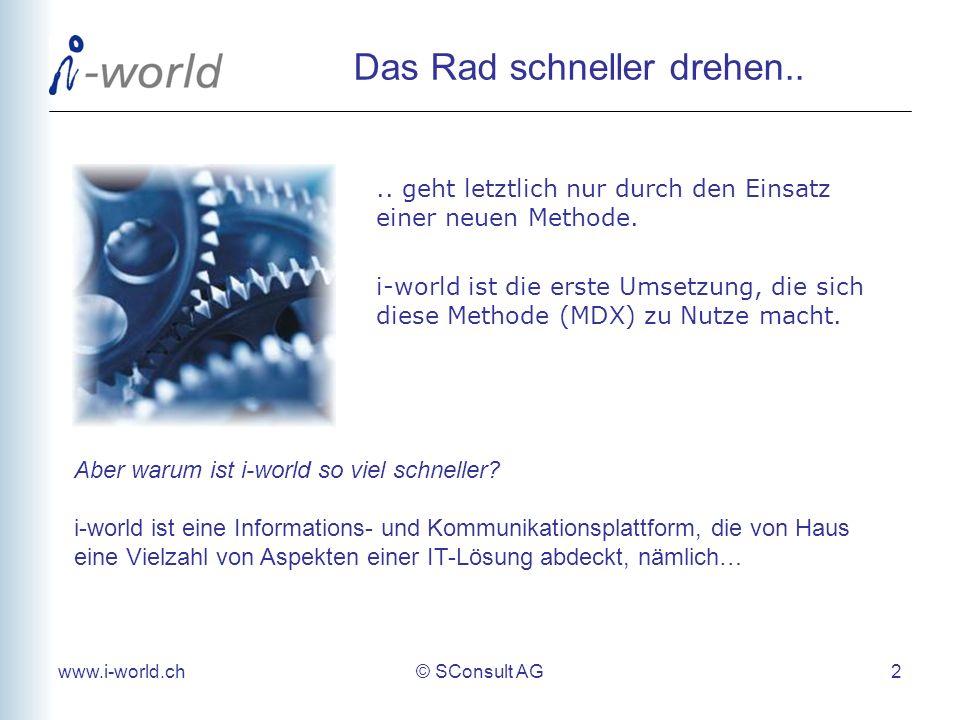 www.i-world.ch© SConsult AG 3 Aspekte einer modernen Business-Lösung Inhaltliche Lösung Web-Oberfläche - Benutzerführung (Menus, etc) - Kontextsensitive Hilfe Liste, Detailansicht, Suchmasken und Menus werden automatisch gebildet - Pers.