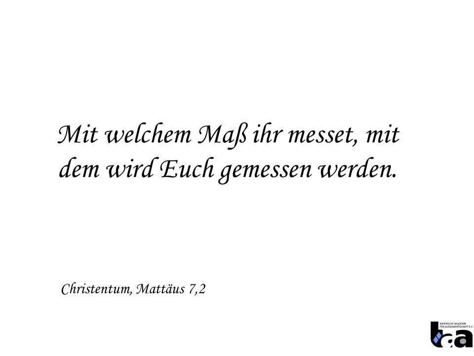 Mit welchem Maß ihr messet, mit dem wird Euch gemessen werden. Christentum, Mattäus 7,2