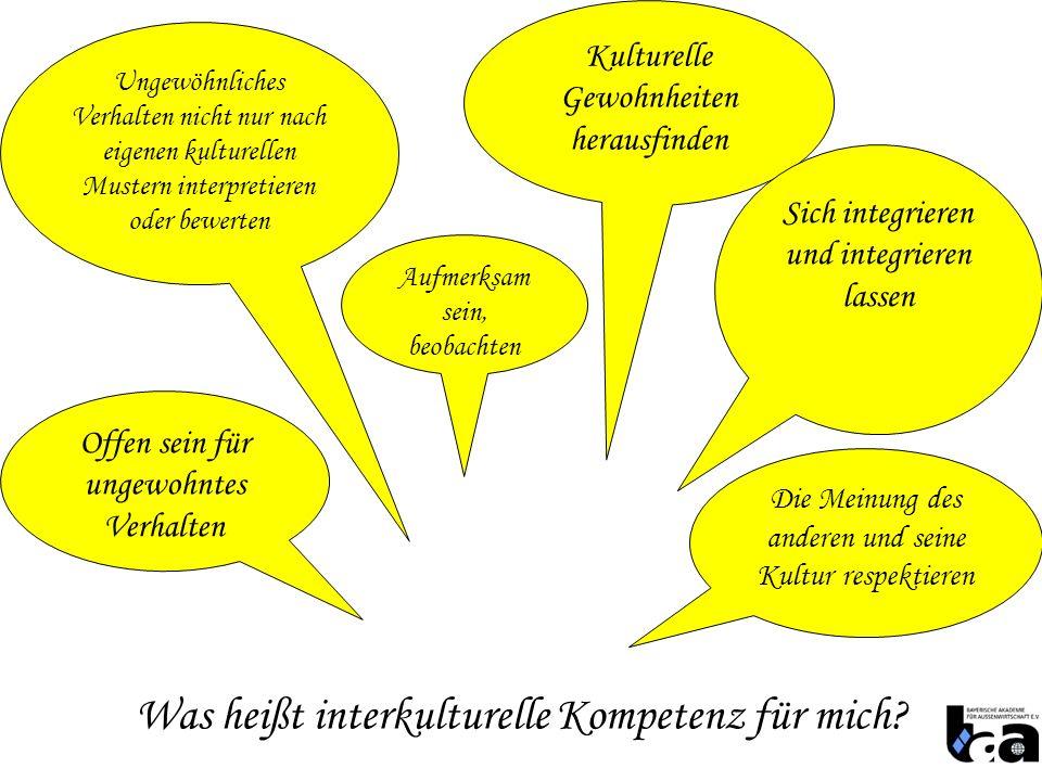 Was heißt interkulturelle Kompetenz für mich? Kulturelle Gewohnheiten herausfinden Offen sein für ungewohntes Verhalten Sich integrieren und integrier