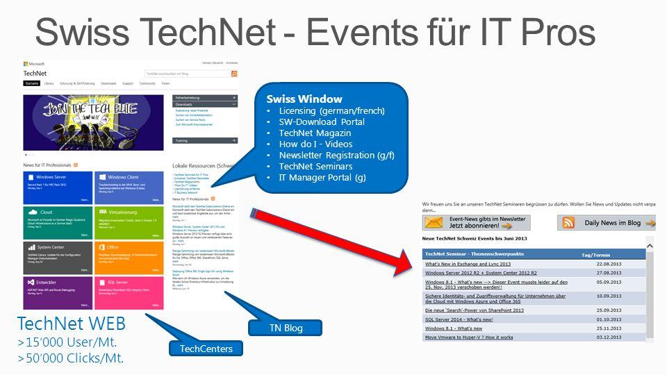 Swiss TechNet - Events für IT Pros 3 TechNet WEB >15000 User/Mt. >50000 Clicks/Mt. Swiss Window Licensing (german/french) SW-Download Portal TechNet M