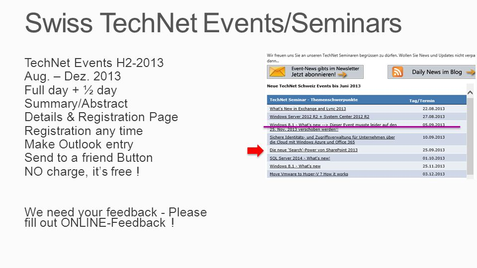 Swiss TechNet Events/Seminars TechNet Events H2-2013 Aug.