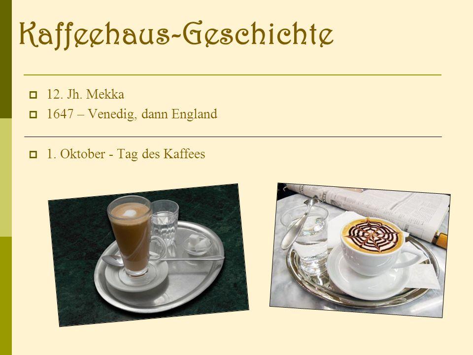 12. Jh. Mekka 1647 – Venedig, dann England 1. Oktober - Tag des Kaffees Kaffeehaus-Geschichte